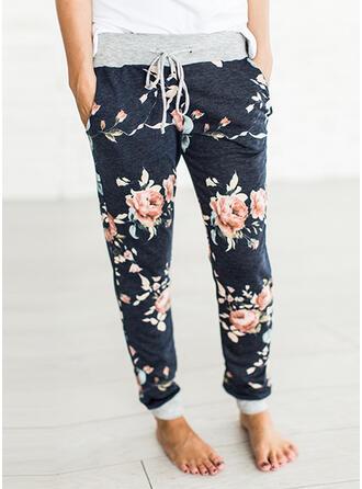 Floral Pockets Drawstring Long Boho Casual Pants