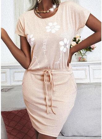 印刷/フローラル 半袖 ボディコンドレス 膝上 カジュアル ドレス
