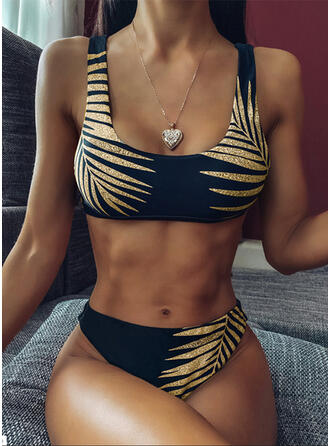 Hojas Impresión Correa Sexy De Moda Bikinis Trajes de baño