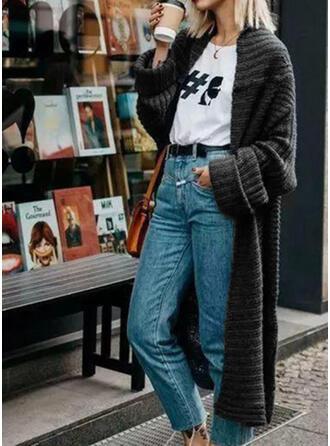 Solid Bucată tricotată Cardigan