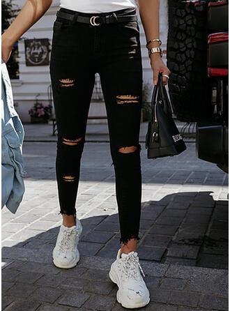 Solid Jean Lang Casual Sexet Plus størrelse Lomme rippet Denim & Jeans