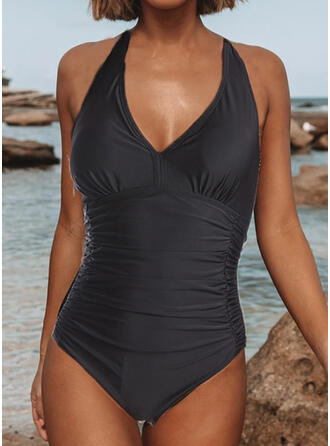 Solid Color Halter V-Neck Sexy Vintage One-piece Swimsuits