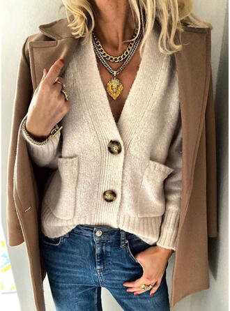 Solid Pocket V-Neck Casual Cardigan