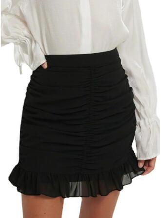 Polyester Jednobarevný Nad kolena Sukně Na Tělo