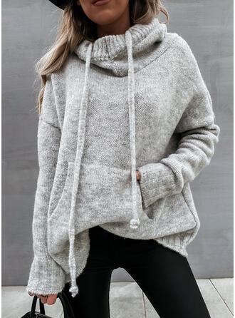 Solid Fickor Hooded Casual Tröjor