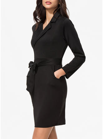 Solid Long Sleeves Bodycon Knee Length Little Black/Casual/Elegant Dresses