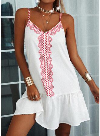 Impresión/Escotado por detrás Sin mangas Tendencia Sobre la Rodilla Casual Camisón Vestidos