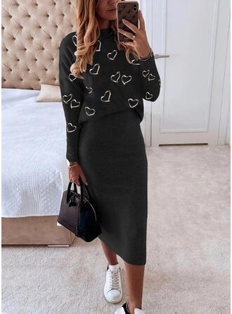 Print/Heart Long Sleeves Bodycon Pencil Casual Midi Dresses