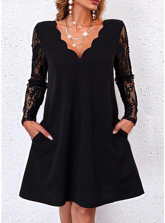 Sólido Encaje Manga Larga Vestidos sueltos Sobre la Rodilla Pequeños Negros/Casual Túnica Vestidos