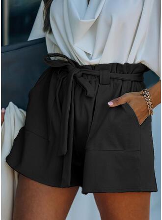 Sólido Por encima de la rodilla Elegante Vacaciones Tallas Grande Bolsillo shirred cordraystring Pantalones Pantalones cortos