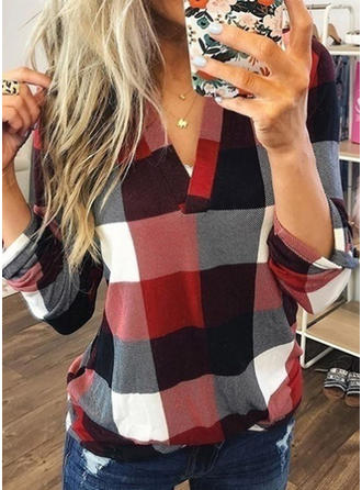 Color Block V-Neck Long Sleeves Casual Shirt Blouses