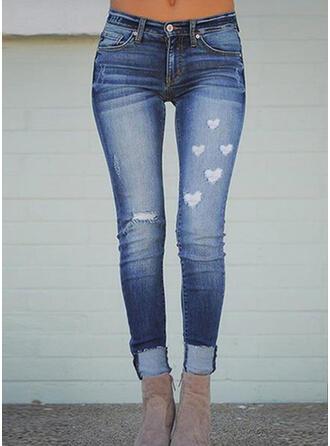 Estampado Coração Grandes Casual Tamanho positivo Bolso rasgado Button Calças Jeans