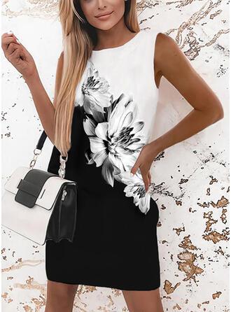 Tisk/Květiny/Color-block Bezrukávů Splývavé Nad kolena Elegantní Šaty