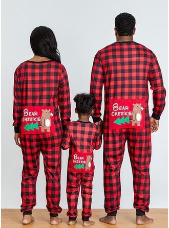Ours Plaid Letter Inmprimé Tenue Familiale Assortie Pyjama De Noël