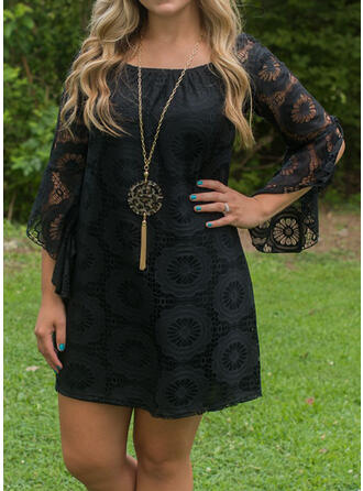 Lace/Solid 3/4 Sleeves Shift Above Knee Little Black/Casual Dresses
