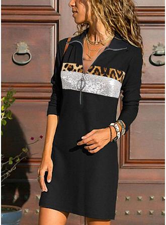 Sequins/Leopard Long Sleeves Sheath Knee Length Casual Dresses
