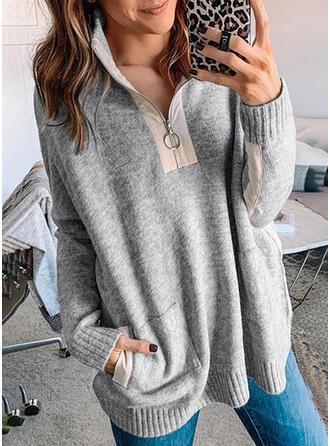 固体 ラペル カジュアル セーター