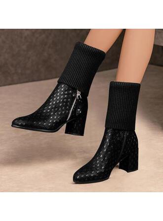 De mujer PU Tacón ancho Botas Botas al tobillo con Color de empalme zapatos