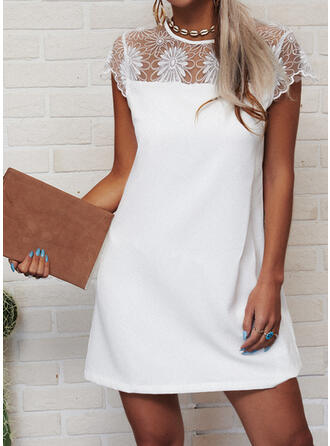 Lace/Solid Cap Sleeve Sheath Above Knee Casual Dresses