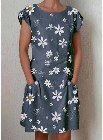 Imprimée/Fleurie Manches Courtes Droite Longueur Genou Décontractée Robes