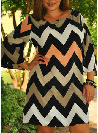 Plus Size Striped 3/4 Sleeves Flare Sleeve Shift Above Knee Casual Vacation Dress