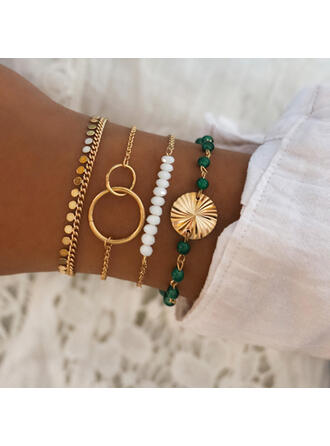Fashionable Cool Alloy With Imitation Pearl Bracelets (Set of 4 pairs)