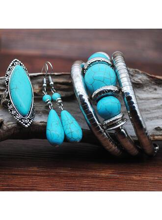 Egzotikus Boho Ötvözet Türkiz -Val Drágakő ékszer készletek Fülbevaló karkötő Gyűrűk (3-as készlet)