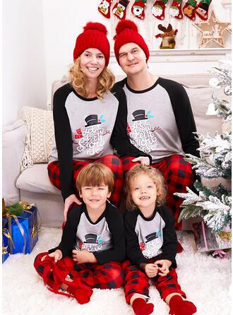 Trozos de color Tela escocesa Carta Impresión Familia a juego Pijamas De Navidad