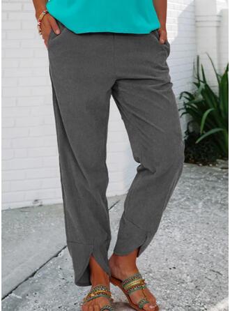 Solid Lang Casual Årgang Plus størrelse Lomme Bukser Lounge bukser
