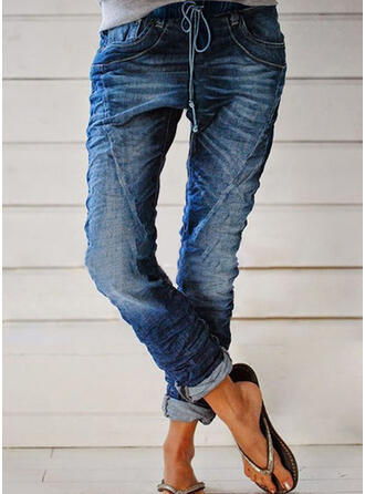 lappverk Shirred Extra stor storlek Lång Fritids Stam Denim & Jeans