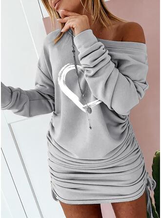 Estampado Manga Comprida Bodycon Acima do Joelho Casual Sweatshirt Vestidos