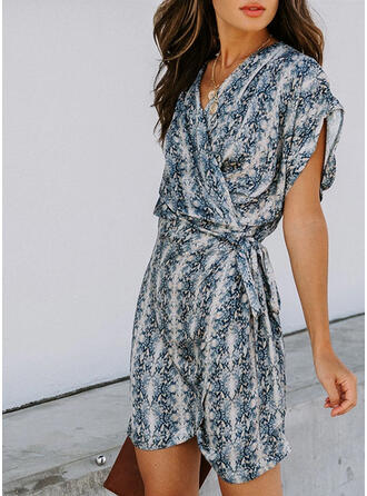 Print Short Sleeves/Batwing Sleeves A-line Above Knee Casual Wrap/Skater Dresses