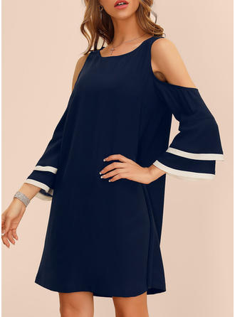 Solid Long Sleeves/Flare Sleeves/Cold Shoulder Sleeve Shift Above Knee Casual/Elegant Dresses