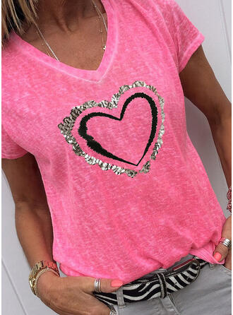 Heart Print Sequins V-Neck Short Sleeves T-shirts