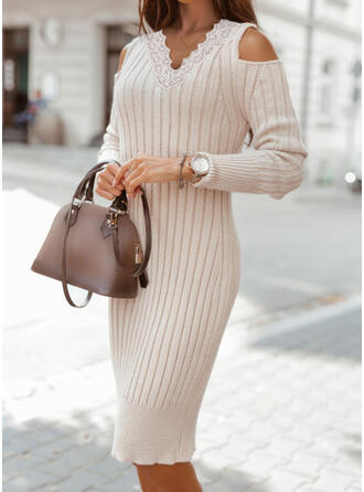 Sólido Encaje Top Con Hombros Casual Vestido de Suéter Lápiz