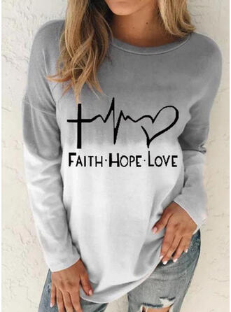Figure Gradient Heart Print Round Neck Long Sleeves T-shirts