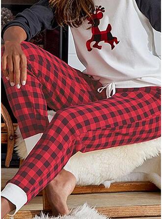 Christmas Plaid Long Casual Party Plus Size Pants