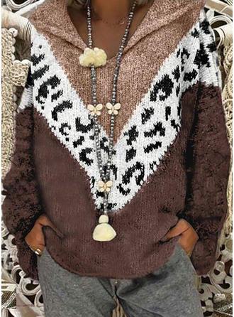 Impresión Bloque de Color Punto Grueso Capucha Suéteres