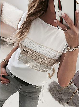 Print Paljetter Rund-ringning Korta ärmar T-tröjor