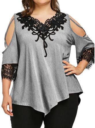Spitze Einfarbig Schulterfrei 3/4 Ärmel Lässige Kleidung Große Größen Blusen