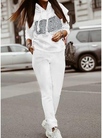 Bogstav Print Casual Plus størrelse sweatshirts & 2-delt tøj sæt