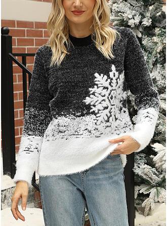 Frauen Baumwollmischungen Drucken Hässlicher Weihnachtsstrickjacke
