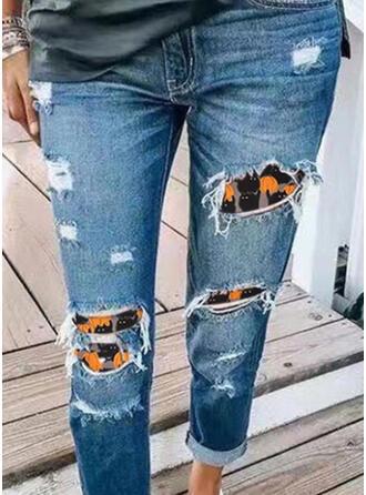Halloween Plus størrelse Tribal Lang Casual Syning rippet Denim & Jeans