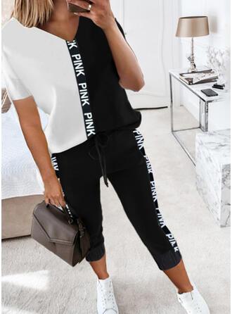 Brev Print Color Block Fritids Extra stor storlek tee & Byxor Tvådelade kläder uppsättning