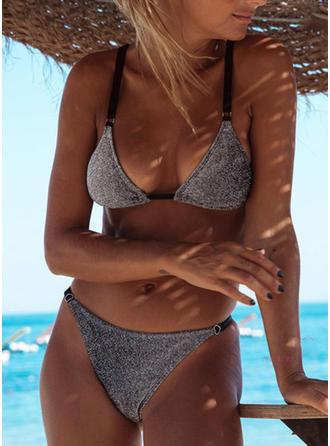 Color Sólido Triángulo Cintura Baja Correa Sexy De Moda Bikinis Trajes de baño