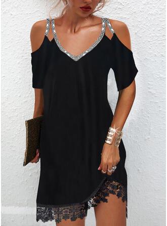 固体 レース/スパンコール 1/2袖 冷たい肩の袖 シフトドレス 膝上 リトルブラックドレス/エレガント ドレス