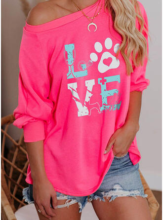 Animal Print Figure Heart One Shoulder Long Sleeves T-shirts