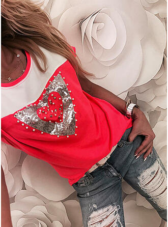 Beaded Color Block Hjärta Paljetter Rund-ringning Korta ärmar T-tröjor