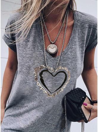 Hjärta Print Paljetter V-ringning Korta ärmar T-tröjor