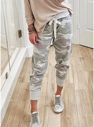 Jacquard Animal Print Drawstring Long Jacquard Sporty Pants